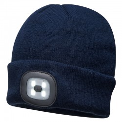 Beanie Led Head Light Usb Rechargeable - Navy - Qty: 5