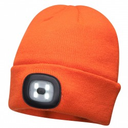 Beanie Led Head Light Usb Rechargeable - Orange - Qty: 5